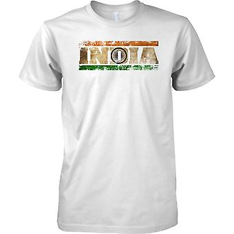 India Grunge Country Name Flag Effect - Kids T Shirt