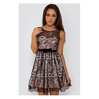 The Fashion Bible Luxe Lace Overlay Skater Dress In Black