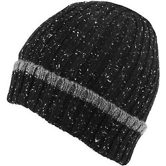 Dents Lambswool Blend Donegal Marl Knitted Beanie - Black