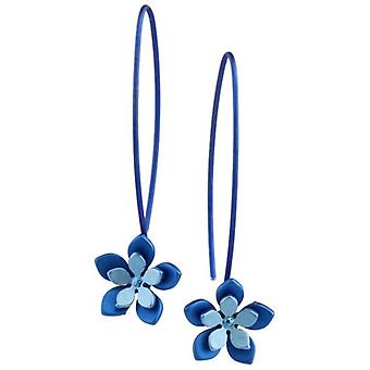 Ti2 Titanium Double Five Petal Flower Drop Earrings - Blue