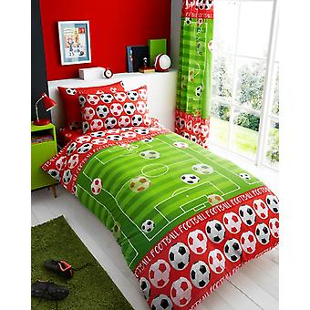 Doel rood Voetbal Soccer Kids enkel dekbed Cover kinderen Rotary beddengoed Set