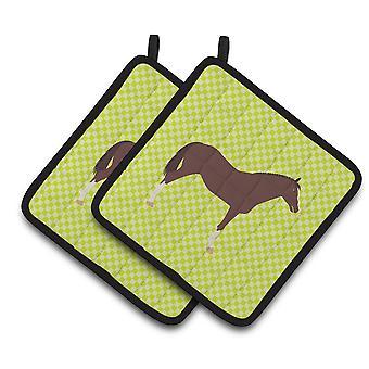 英語のサラブレッド馬のポット ホルダーの緑のペア