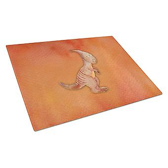 Parasaurolophus Watercolor Glass Cutting Board Large