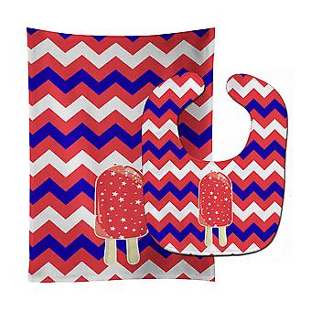 Ice Pop Popsicle Red White Blue Baby Bib & Burp Cloth
