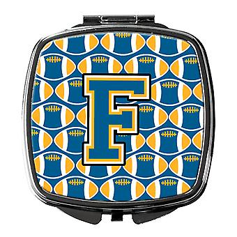 Carolines Treasures  CJ1077-FSCM Letter F Football Blue and Gold Compact Mirror