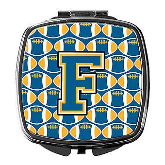 Carolines skatter CJ1077-FSCM bokstaven F fotball blå og gull kompakt speil