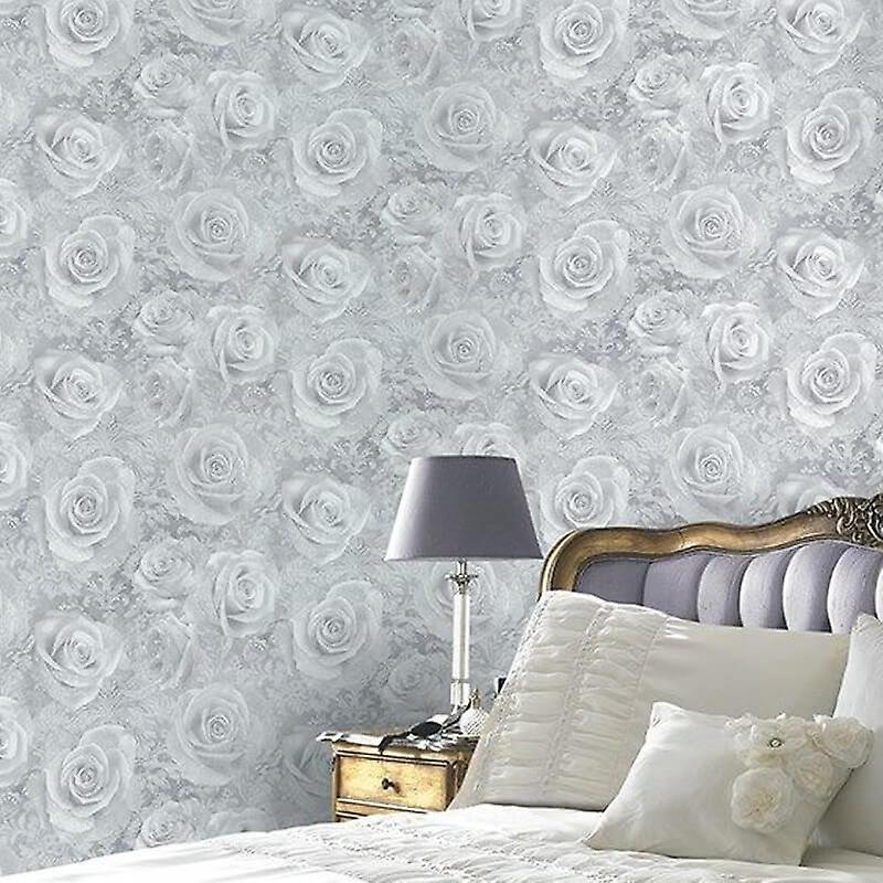 Floral Wallpaper Flowers Roses Reverie Silver Grey Heavyweight Arthouse