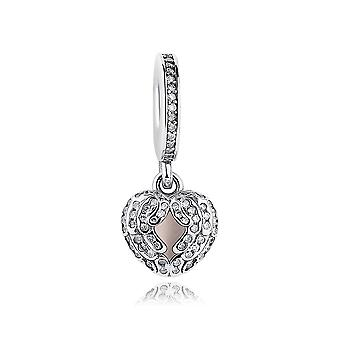 Sterling silver pendant charm Angel wings heart PAS044