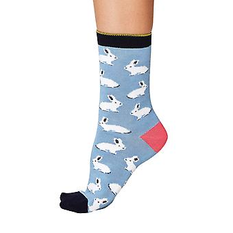 Rabbit women's super-soft bamboo crew socks in sea blue | By Thought