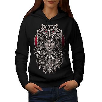 Girl Tiger Head Fantasy Women BlackHoodie | Wellcoda