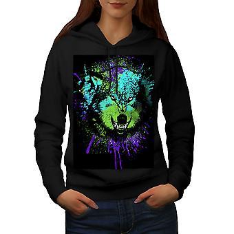Predator Wolf Face Women BlackHoodie | Wellcoda