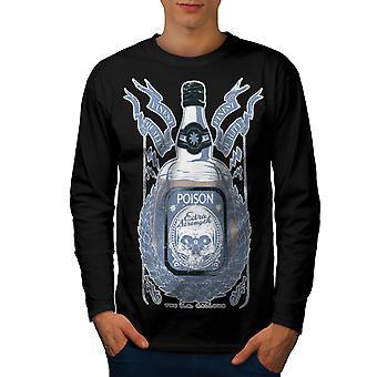 Dood drinken T-shirt van de koker van de BlackLong van de mannen van schedel | Wellcoda