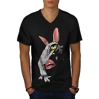 Rabbit Beast Face Fashion Men BlackV-Neck T-shirt | Wellcoda