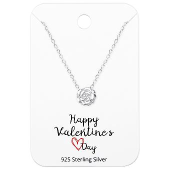 Rose Necklaces On Happy Valentines Day Card - 925 Sterling Silver Sets - W36069x