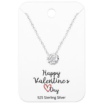Rose Halsketten auf Happy Valentines Day Card - 925 Sterling Silber Sets - W36069X