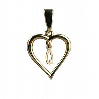 Oro 9ct 18x18mm cuore pendente con una sospensione iniziale Q