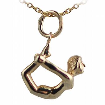 9ct Gold 13x15mm Bow Pose Yoga Position Pendant with a cable Chain 16 inches Only Suitable for Children