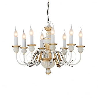 Ideal Lux Firenze Traditional White And Gold 8 Light Chandelier