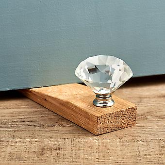Clear Diamond Crystal Oak Wedge Door Stop