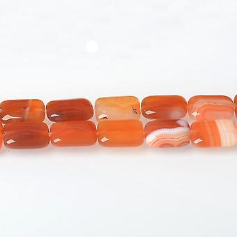 Strand 15+ Red/White Striped Agate 15 x 20mm Puffy Rectangle Beads CB52412