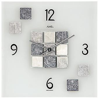 Wall clock quartz watch frosted mineral glass with selected natural stones