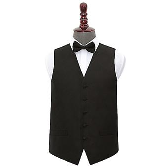 Black Paisley Wedding Waistcoat & Bow Tie Set