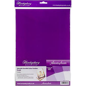 Hunkydory Adorable Scorable A4 Cardstock 24/Pkg-Purple Tones