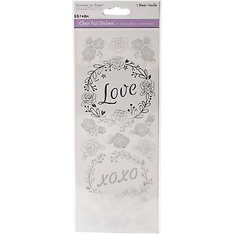 Multicraft Clear Foil Stickers-Love Silver