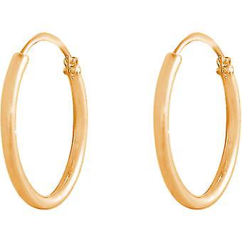 GEMSHINE 585 Gold 14k Creolen endless Hoop Ohrringe im klassischen Design in Größen 10 mm - 16 mm. Made in Madrid / Spanien