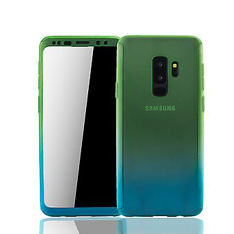 Samsung Galaxy S9 plus mobile shell Schutzcase full cover 360 display protection foil green / blue