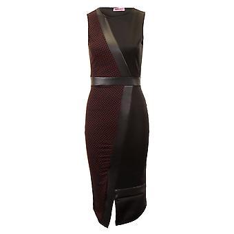 Ladies Sleeveless White Wine Knee Length PVC Contrast Polka Dot Midi Women's Dress
