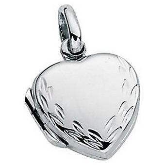 Begin klein gegraveerd hart medaillon hanger - zilver