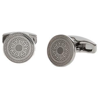 Simon Carter Laser Engraved Button Cufflinks - Gunmetal Grey