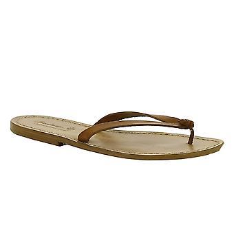 Handmade brown leather flip flops for women