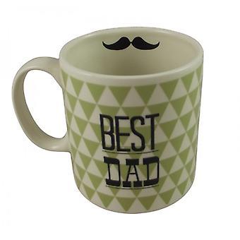 Gisela Graham Best Dad With Moustache Feature Mug
