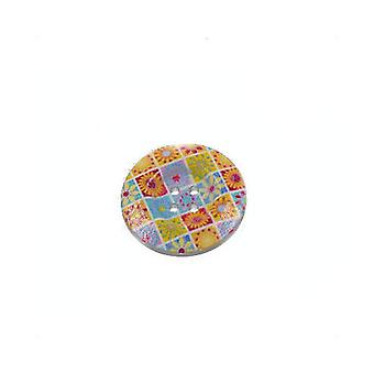 Packet 30 x Mixed Wood 20mm Round 4-Holed Patterned Sew On Buttons HA11165