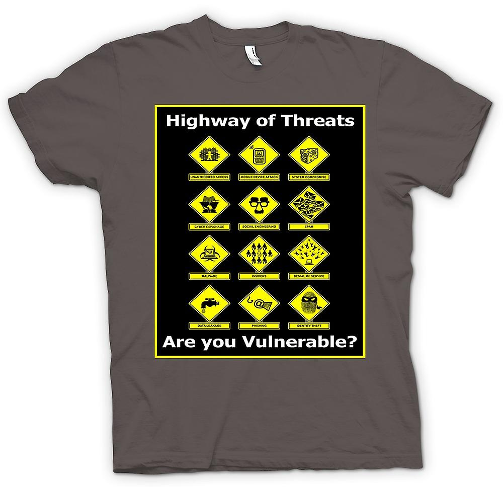 Mens T-shirt - Internet Security Threats - Funny