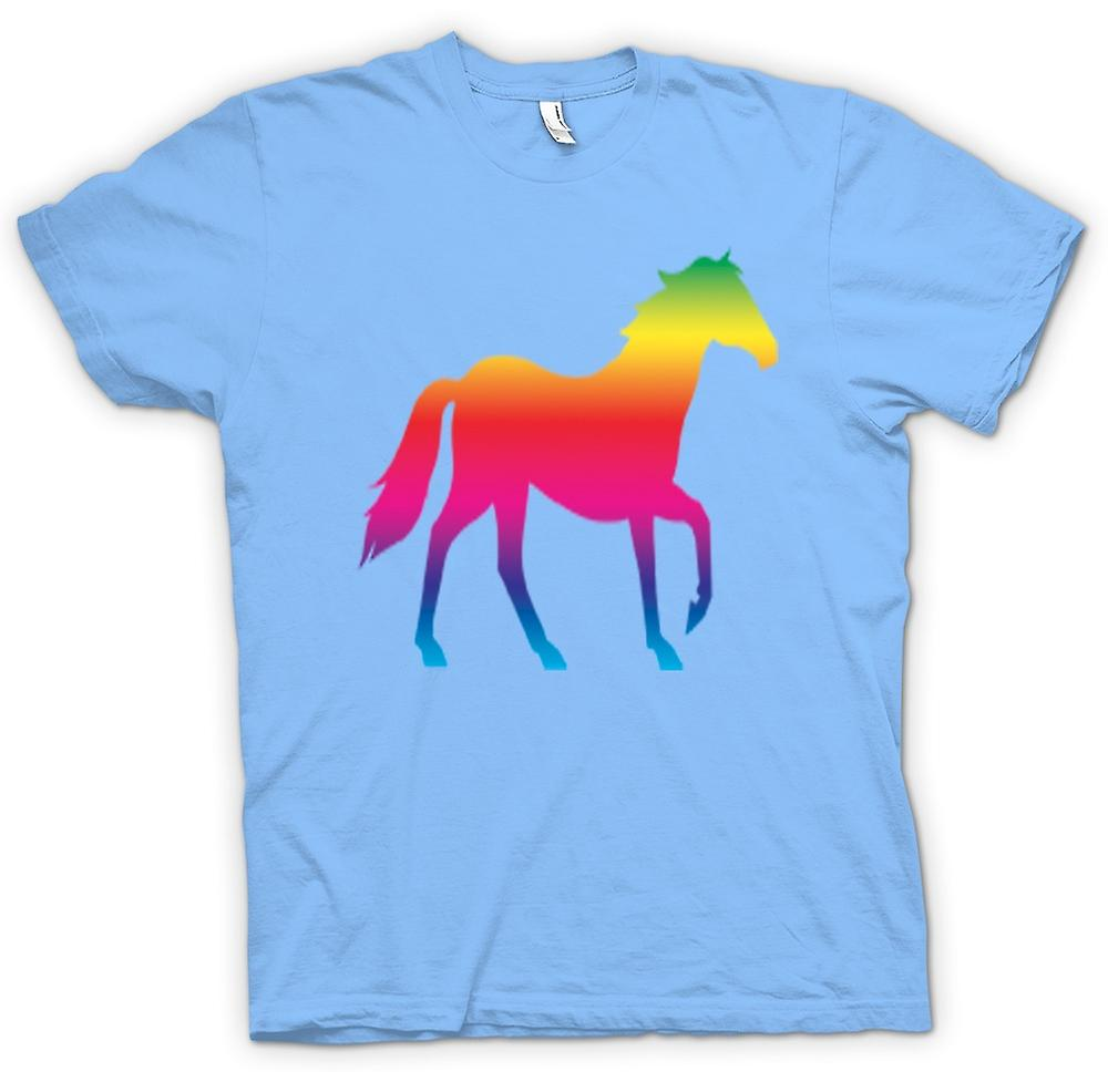 Mens T-shirt-Rainbow Design Pferd Canter Psychedelic