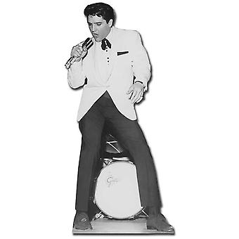 Elvis Singing in White Jacket with Drum - Lifesize Cardboard Cutout / Standee