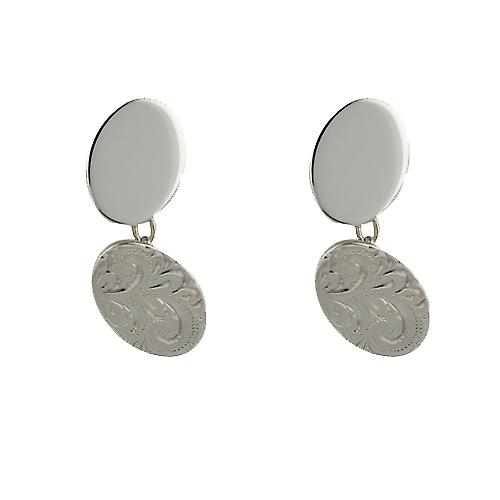 Silver 12x19mm oval hand engraved chain Cufflinks