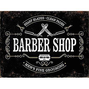 Barber Shop Sharp Blades, Clean Fades large metal sign 400mm x 300mm (og)