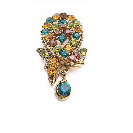Multicolored Crystals Brooch Pendant Dangling Antique Vintage Brooch