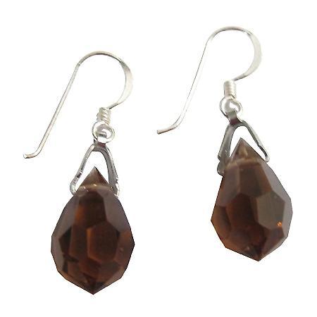 92.5 Sterling Silver Teardrop Smoked Topaz Crystals Earwires Earrings