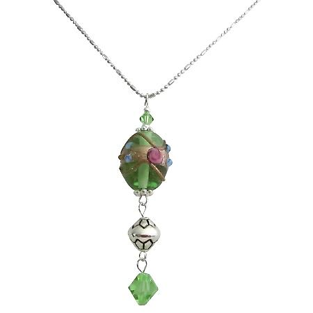Green Jewelry Silver Plated Designed Chain Peridot Crystal Necklace