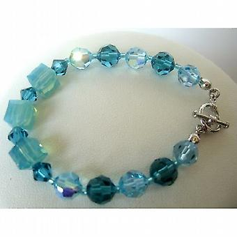 Aquamarine & Indicolite Crystal Bracelet Swarovski Crystal Bracelets Handcrafted