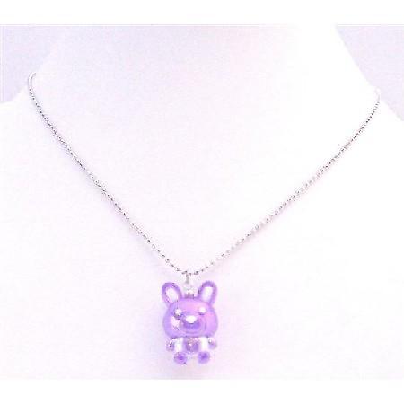 Special Holiday Necklace Easter Bunny Rabbit Pendant Purple Enamel