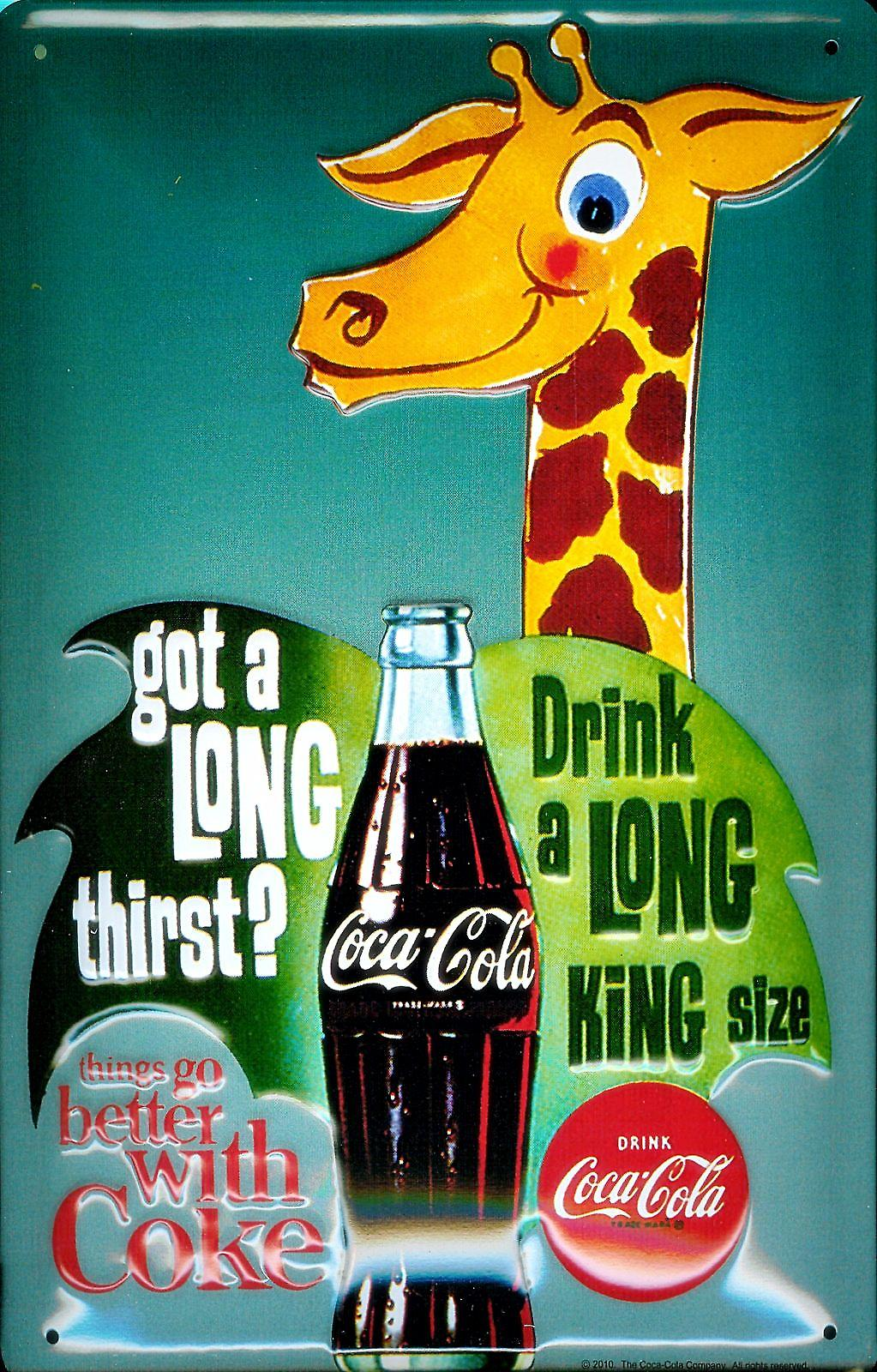 Coca Cola Giraffe embossed metal Sign   (hi 3020)