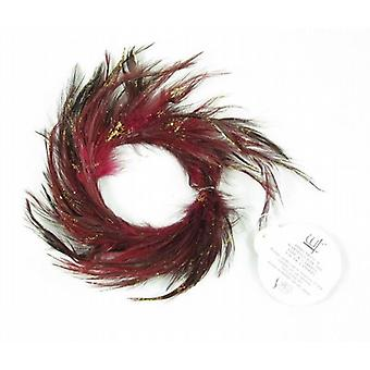 Red Glitter Feather Candle Ring 4cm Set of 12 - (128R158)