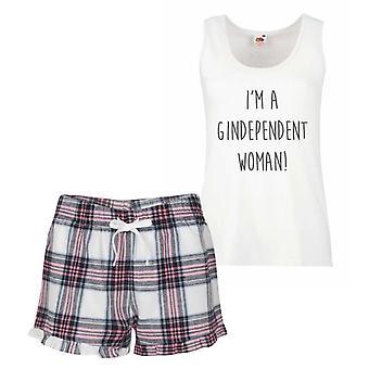 I'm A Gindependent Woman Pink Tartan Pyjamas