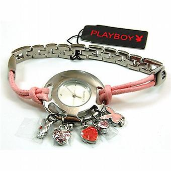 Playboy Pink Watch With Charms & Changeable White Strap